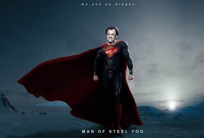 Mashup of John C Reilly as Steve Brule as Bizarro Superman in Man of Steel