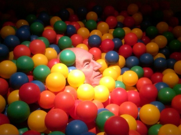 patrick stewart in a ball pit twitter picture