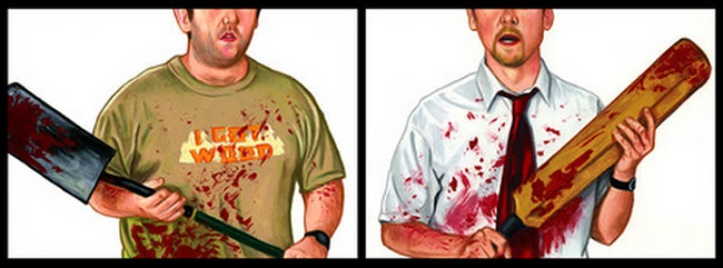Shaun of the Dead fan art at The Official Edgar Wright Art Show at Gallery 1988