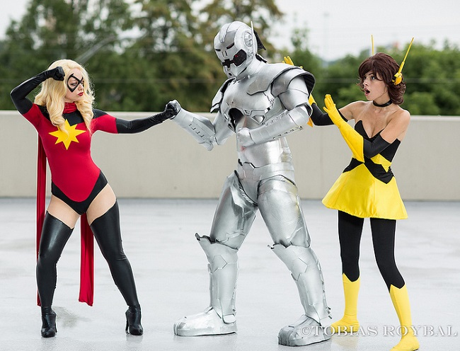 cosplay dark ms marvel, ultron, and wasp